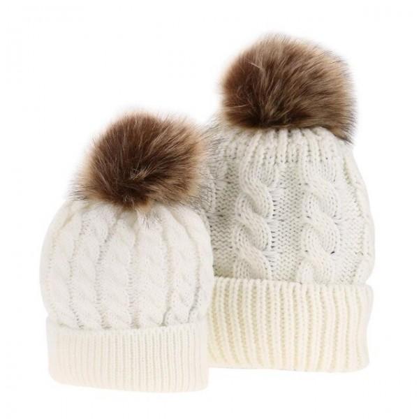 Warme Mütze für Mama und Baby