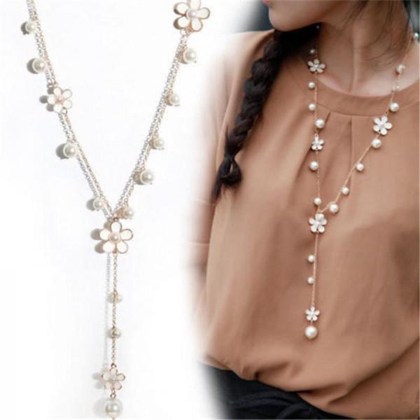 Blumen und Perle als Mode Halskette