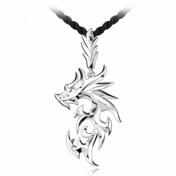 Silber Edelstahl-Drache-Anhänger Männer Halskette Leder-Kette