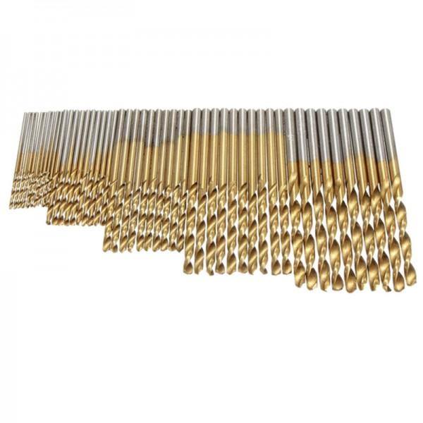 50 Stück 1/ 1.5/ 2.0/ 2.5/ 3 mm Titan Beschichteter HSS Bohrer Set