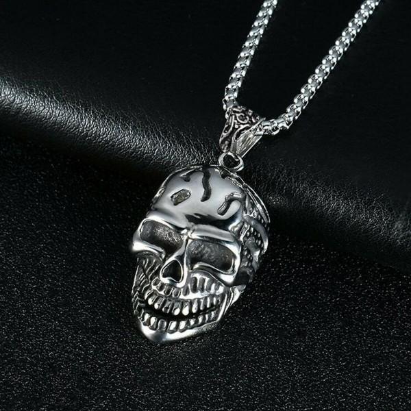 Totenkopf Skull Anhänger Halskette Hip Hop Biker Hals Silber Kette Lang