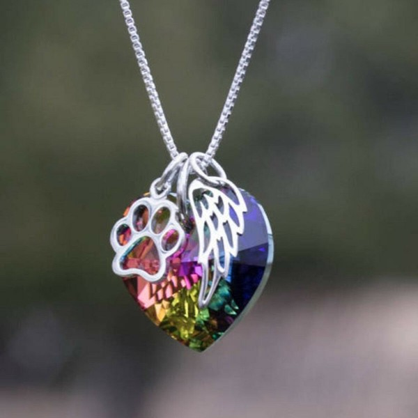 Regenbogen Halskette Kristall Flügel Herz Engel Anhänger Schmuck Kette