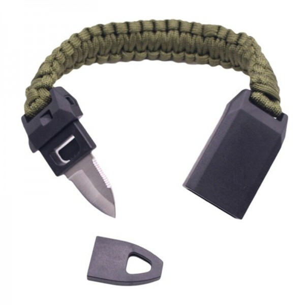 3in1 Outdoor Camping Geflochtene Paracord Armband Pfeife Stahl Messer Handschlaufe