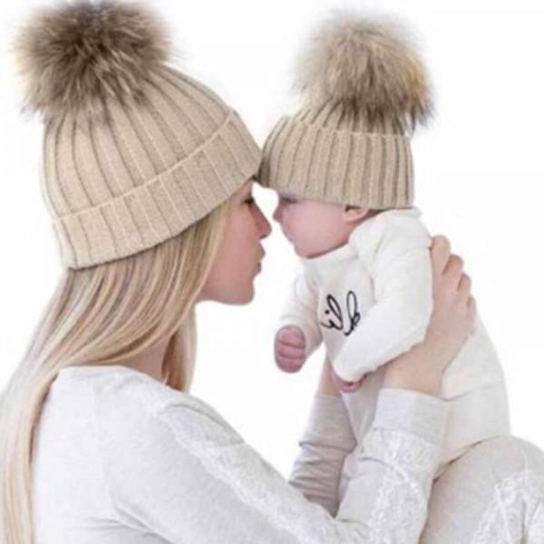 Eltern-Kind Beanie Mütze Mutter und Baby Strickmütze Pom Wintermütze Bommelmütze