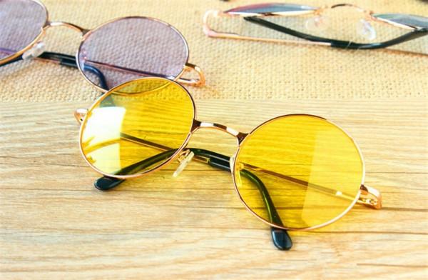 Sonnenbrillen Kunststoffrahmen Gläser Frauen Mode Retro Runde Brille Objektiv