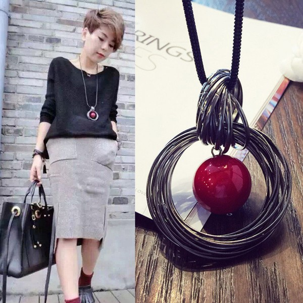 Halskette mit Anhänger Mode Dame Kreis Rot Lange Kette Perle