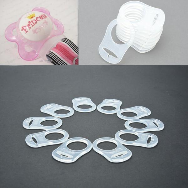 5 Silikonring Adapter Clip Schnullerketten transparent Klar Schnullerhalter