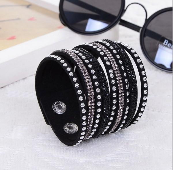 Mehrschichtige Punk Kristall Armband