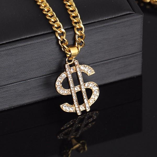 Gold Kette Dollar Anhänger Halskette Hip Hop Disco Outfit Rapper Schmuck