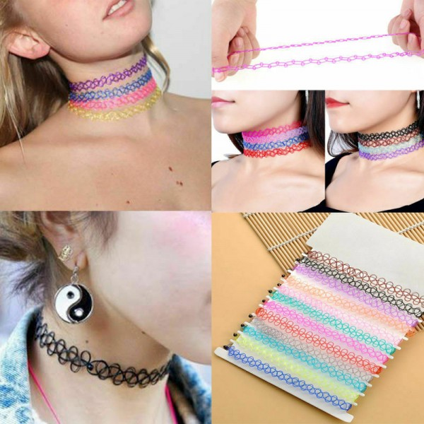 12x Halsband elastisch für Mädchen