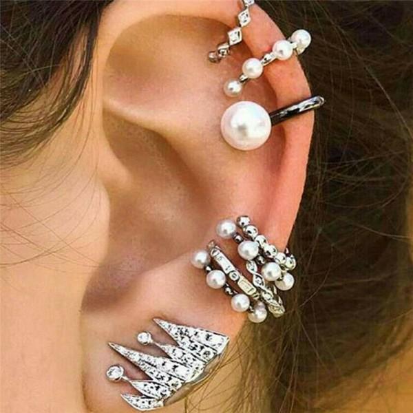 9x Bohemian Ohrringe für Frauen in Silber