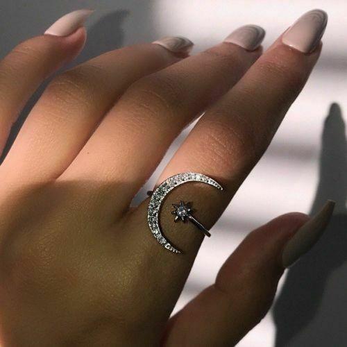 Stern und Mond als Damen Ring verstellbar