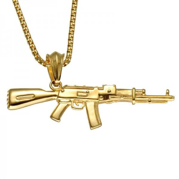 Herren Edelstahl AK47 als Halskette Hip Hop