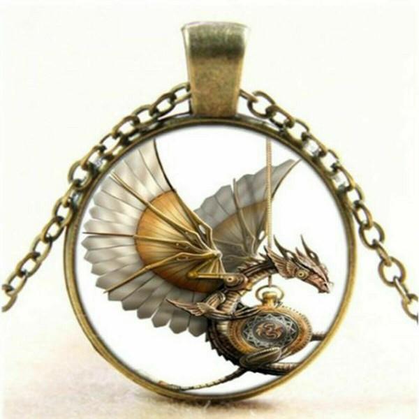 Drachen Cabochon Halskette