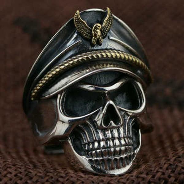 Totenkopf Knochen Verstellbar Stein Finger Ring Korps Schädel Kopf Öffnung