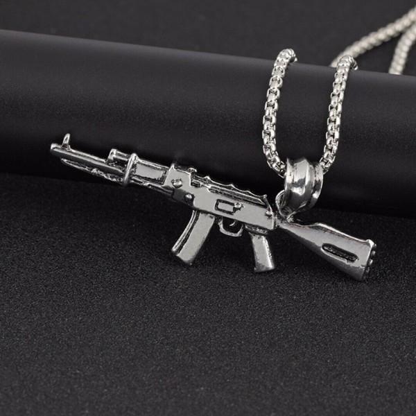 Herren Edelstahl AK47 Kette Anhänger Halskette Hip Hop Punk Schmuck Geschenk NEU
