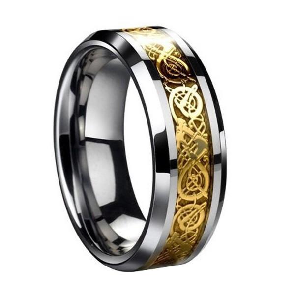 Drachen Muster keltisch Ringe Gold Drachenschuppe für Herren