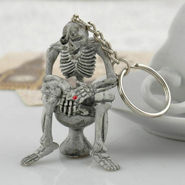 Totenkopf Schlüsselanhänger Taschenanhänger Gothic Skull Schädel Toilette