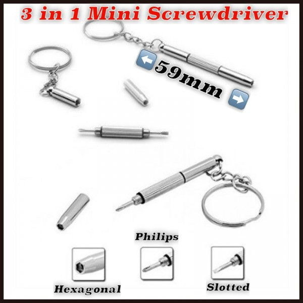 2x 3 in 1 Mini-Schraubendreher Werkzeug