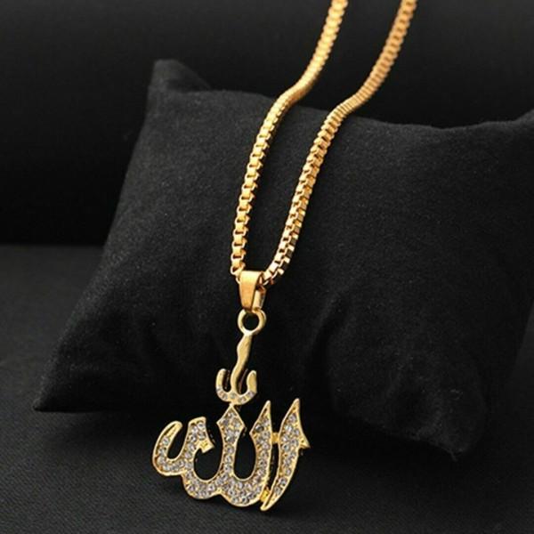 Allah Kristall als Halskette in Gold und Silber