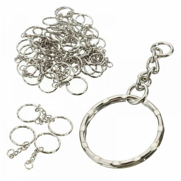 5x Silber Schlüsselring poliert Schlüsselanhänger Ring Ketten