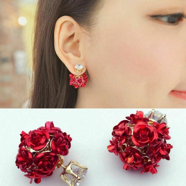 Rosen als Ohrring + Geschenk für Damen
